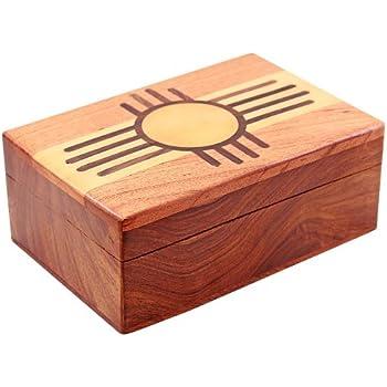 wood storage box. wooden storage box - zuni sun pattern wood