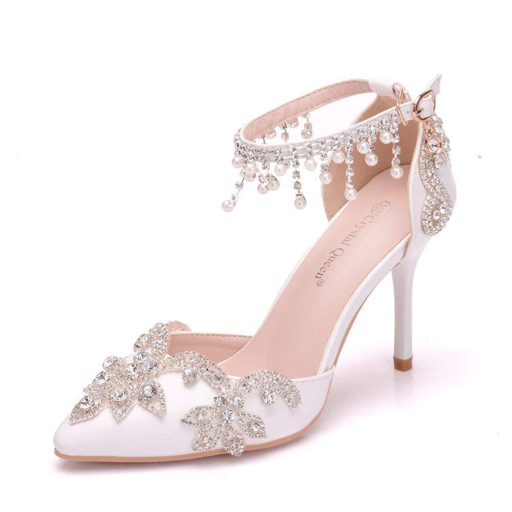 blanc 38 EU SYXLBDK Chaussures Femme Décontracté Eau Forer Sandales Talon 9 Cm De Haut des Perles des Glands De Blanc De Mariage De Chaussures