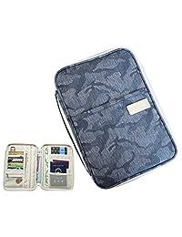 iSuperb Passport Holder Travel wallet Family Document Organizer Cash Credit ID Card Ticket Pouch Purse Bag Cover Zipper Case with Hand Strap 11x6.3inch (Dark Blue)