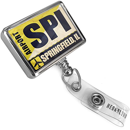 Retractable ID Badge Reel Airportcode SPI Springfield, IL with Bulldog Belt Clip On Holder (Spi Dog)