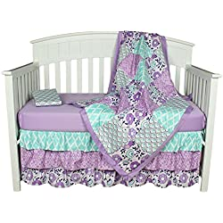 Purple Baby Bedding, Zoe 4-In-1 Crib Bedding Set by The Peanut Shell Flower for girls