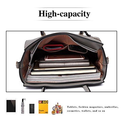 Grey Miss Lady Shoulder Leather Lulu Bags Fashion Handle Top Handbag 6627 Tote Pu qRSHRw