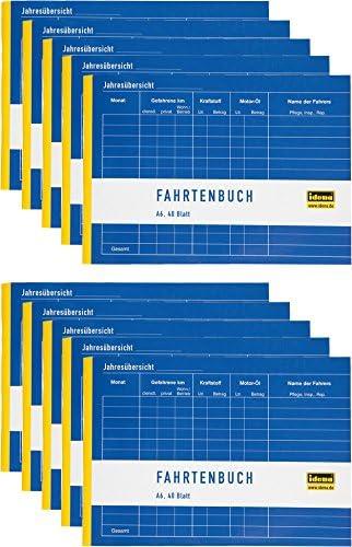 Idena 314250 - Fahrtenbuch, DIN A6 für 390 Fahrten doppelseitig bedruckt, holzfreies Papier, 40 Blatt (Fahrtenbuch, A6 | 10er Sparpack)