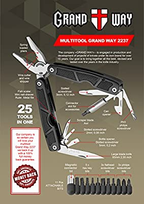 Black Multi-Tool 25-in-1 with Knife and Pliers - all Purpose Tool with Attachable Bit Set - Good for Home, Garage, Camping, Survival, Hiking and Outdoor Activities
