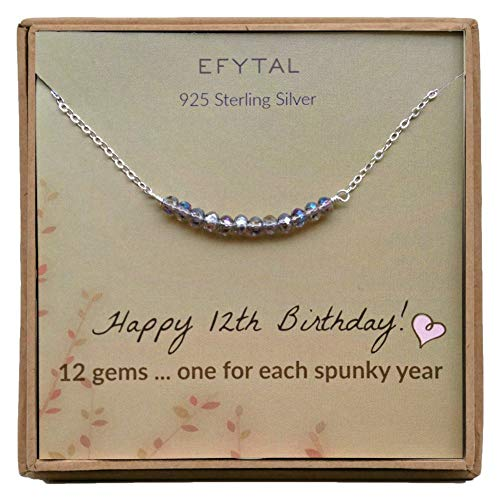 EFYTAL 12th Birthday Gifts for Girls, Sterling Silver Necklace, 12 Beads for 12 Year Old Girl, Bat Mitzvah Gift