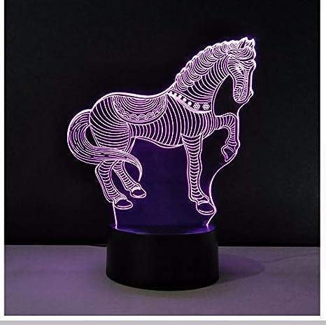 Led 3D Ambiente Iluminación del Hogar Luces Nocturnas Acrílico Caballo Modelado Mesa Lámpara de Escritorio 7 Cambio de Color Regalos para Niños Caja de Luz: ...
