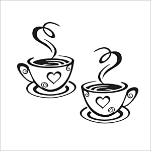 Creatiee Coffee Tea Cup Art Wall Decal Sticker, Removable DIY Vinyl Mug Decal Wallpaper for Kitchen Home School Office Shop Cafe Pub Restaurant Hotel Wall Decor - Dress up Your Style (12'' x 7.4'')