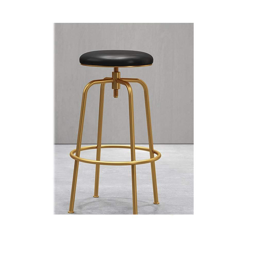Black LRZS-Furniture Nordic Wrought Iron Wood Bar Chair gold Bar Chair Starbucks Bar Stool Front Desk Chair Leisure Lift Chair (color   Black)