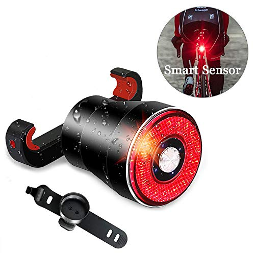 Bike Tail Light USB Rechargeable, Smart Brake Sensing Rear Lights Ultra Bright IPX6 Waterproof Bicycle Back Lights, 4 Light Mode Fits All Bicycles, Mountain, Road