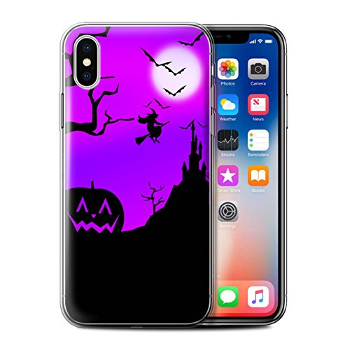 STUFF4 Gel TPU Phone Case/Cover for Apple iPhone Xs/Pumpkin/Witch Design/Halloween Scene Collection]()