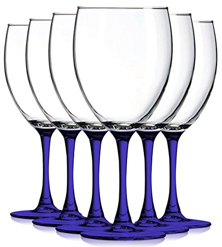 Frost Blue Accent (Cobalt Blue Nuance Wine Glassware with Beautiful Colored Stem Accent - 10 oz. set of 6- Additional Vibrant Colors Available by TableTop King)