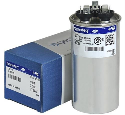 American Standard - 45 + 7.5 uF MFD x 370 VAC Genteq Replacement Dual Capacitor Round # C34575R / 27L947 by Genteq