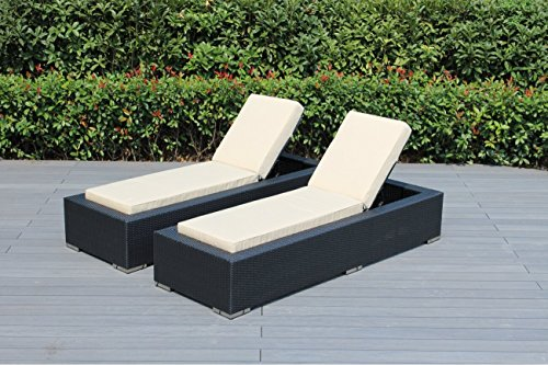 Ohana 2-Piece Outdoor Patio Furniture Chaise Lounge Set, Black Wicker with Sunbrella Antique Beige Cushions - No Assembly with Free Patio Cover ()
