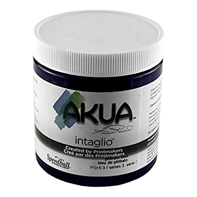 "Akua Intaglio IIPB Water Based Ink, Non-Toxic, 8 oz. Jar, 2.7"" Height, 3.3"" Width, 3.3"" Length, Phthalocyanine Blue"