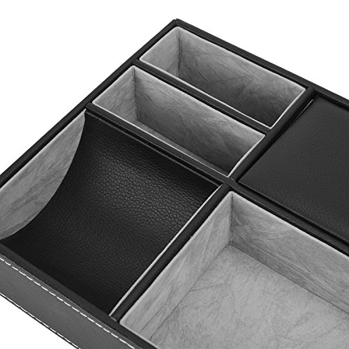 Valet Tray, 5 Compartments PU Leather Dresser Valet Organizer for Watches and Jewelry by Juns (Image #3)