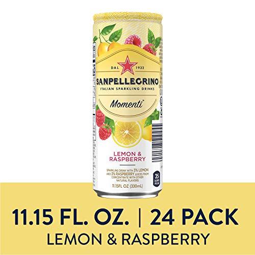 Sanpellegrino Momenti Lemon & Red Raspberry Cans, 11.15 Fluid Ounce, Pack of 24