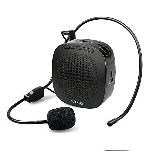 Voice Amplifier MAONO AU-C03 Ultralight(0.29 lb) Cardioid Portable Rechargeable Wired Microphone with Waistband,Support SD Card/AUX Input for Teachers, Coaches, Tour Guides, Market(Black)
