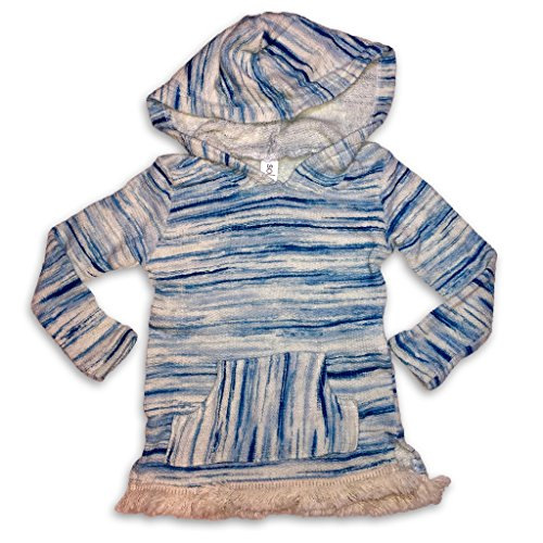 Hooded Fringe (Sol Baby Infant/Toddler Baja Hoodie Pullover Space Dyed Sweater with Fringe and Pocket-12m-Blue)