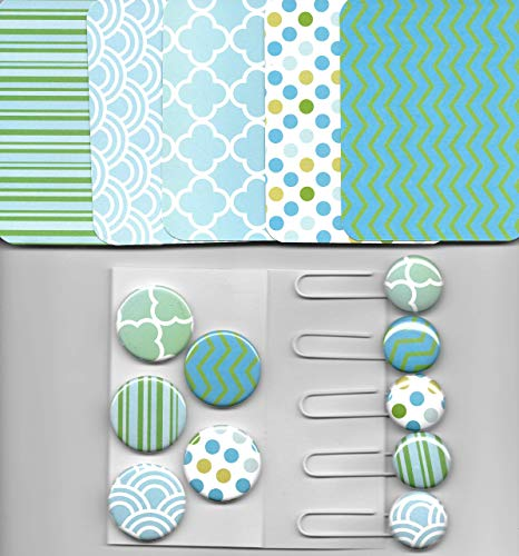 Altered Button - MInty Green 30 pc. set Matching Journal Cards, Altered Paperclips and Magnets Gift Set
