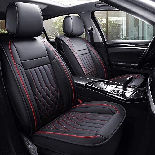 Aierxuan 5 Car Seat Covers Full SetWaterproof Leather Universal Fit for Most Sedan SUV (Black full set)