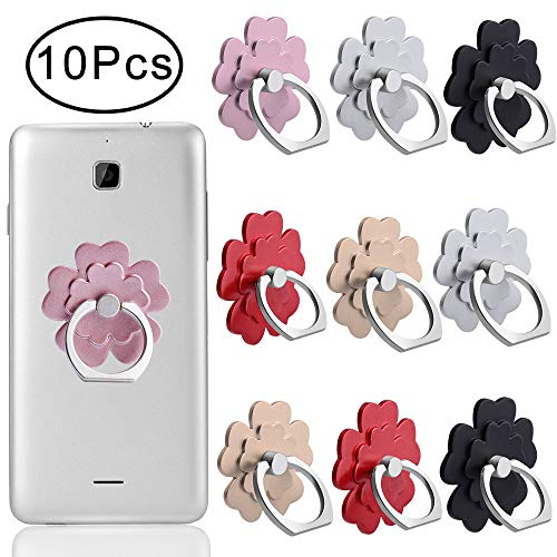 Outee 10 Pcs Cell Phone Ring Holder Phone Finger Holder Phone Ring and Stand Phone and Grip-Phone Finger Ring 360° Rotation 180° Flip Grip Mount Universal Smartphone for Phone, Tablet