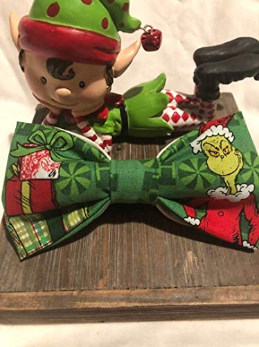 Grinch adult/teen holiday pre-tied bow tie. Grinch who stole Christmas holiday photos bow tie. With adjustable 18