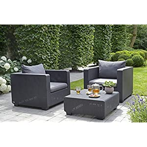 Keter Salta Coffee Table Modern All Weather Outdoor Patio Garden Backyard Furniture, Cool Graphite