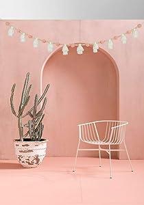 DrCor Blush Pink Pom Pom Garland Boho Wood Bead White Tassels Garland for Teens Girls Bedroom Room Dorm Nursery Fireplace Decor