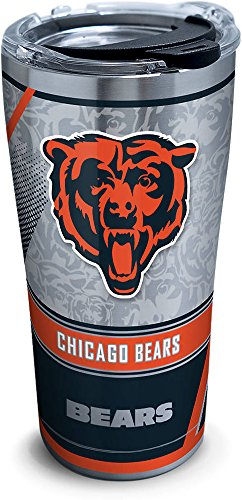 (Tervis 1266031 NFL Chicago Bears Edge Stainless Steel Tumbler with Clear and Black Hammer Lid 20oz, Silver)