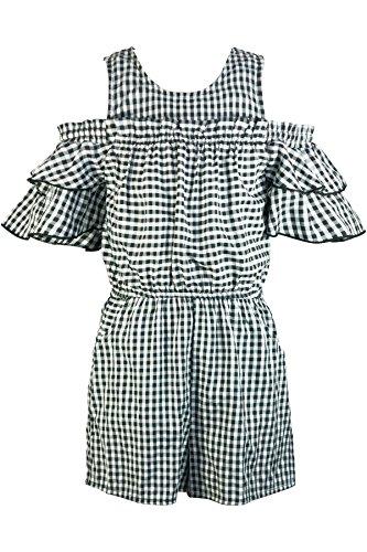 Truly Me, Big Girls' Designer Spring/Summer Cold Shoulder Romper with Ruffle Details, Size 7-16 (Black/White, 7) (Bold Romper Stripe)