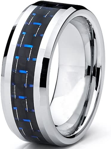 Ultimate Metals Co 8MM Bague Alliance Tungstene Avec Fibre De Carbone Noir et Bleu
