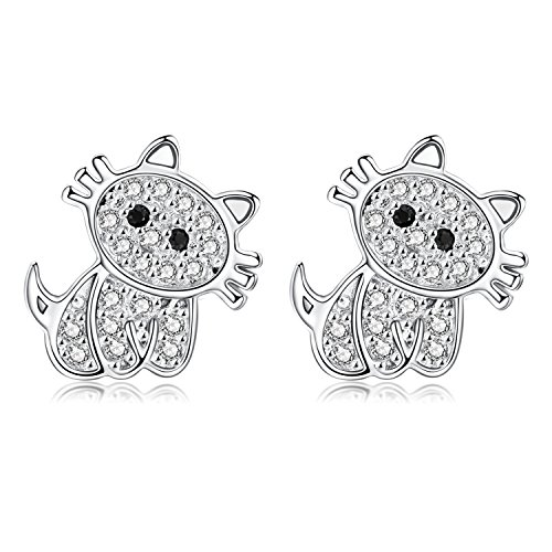 18G Stainless Steel Cute Cat Cubic Zirconia Cartilage Ear Stud Helix Earrings Women Girls 2Pieces(White)