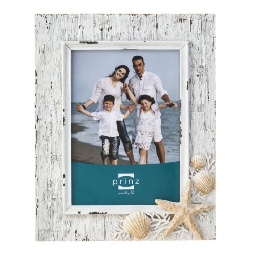 Prinz Sand Piper Resin Frame in Natural White with Seashells and Starfish Accents, 4 by - Sea Frame Shell