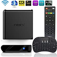 MaQue Android TV Box T95X Amlogic S905X Quad-core 1G RAM 8GB ROM H.265 Video Decoder Mini PC HD 3D TV Devices WIFI Smart Set-top Boxes 64 Bits 4K Playing WIFI 2.4Ghz with Mini Wireless Keyboard