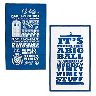 Doctor Who Dish Towels - Timey Wimey Cotton Kitchen Cloths - 2-Piece Set