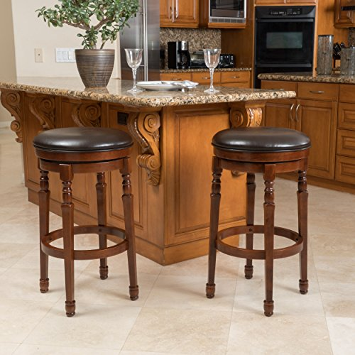 Rich Leather Brown Chocolate - Christopher Knight Home 296623 Paxx Chocolate Brown Bycast Leather Barstools (Set of 2),