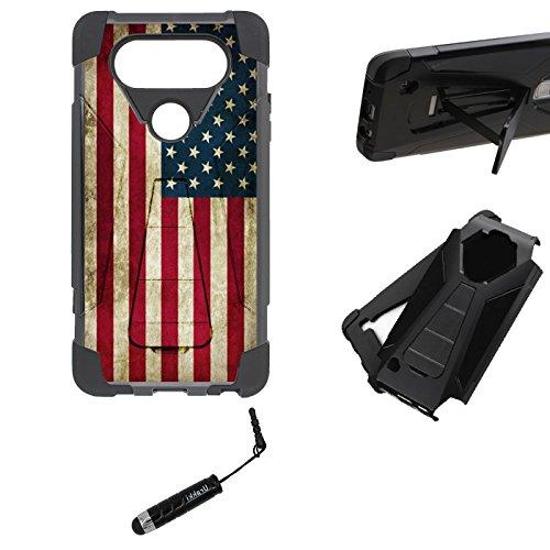LG V20 Hybrid Kickstand Case, Hybrid 2 Layer Shock Proof Rugged Heavy Duty Armor Kickstand Hard Case by URAKKI - LG V20 Hybrid (2016 Version) [Vintage American Flag] Case