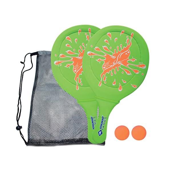 Schildkröt - Set da spiaggia in neoprene, 2 racchette, 2 palline, in borsa a rete, diversi colori 1 spesavip