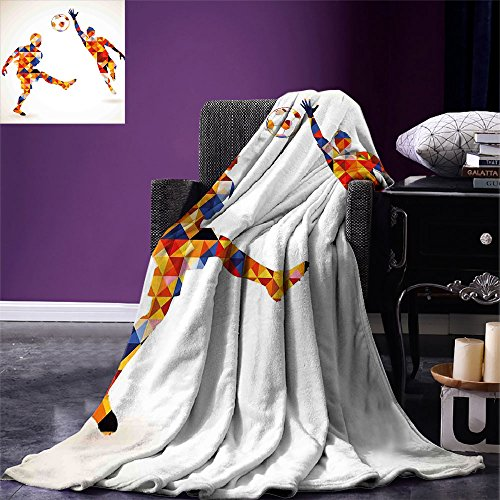 smallbeefly Sports Warm Microfiber All Season Blanket Abstract Design with Football Soccer Players in Geometrical Colorful Shapes Print Print Artwork Image,Multicolor, Multicolor by smallbeefly