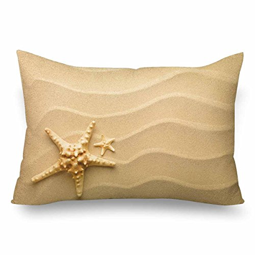 InterestPrint Seashells Starfish Hawaii Summer Sand Beach Seaside Pillow Cases Pillowcase Standard Size 20x30, Rectangle Pillow Covers Protector for Home Couch Sofa Bedding Decorative by InterestPrint