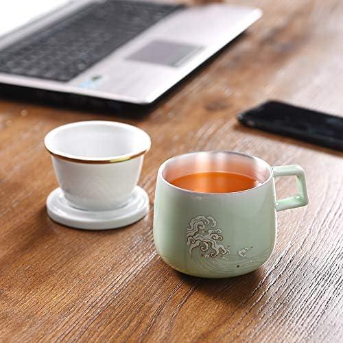 SJJZRR Tasse /à th/é en porcelaine 300 ml avec couvercle filtre en c/éramique pour tasse /à eau en argent sterling