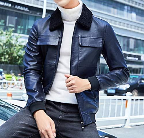 Jackets Blue Pocket Leather Patched Mogogo Down Collar Men's PU Zips Turn qwTz7HaZ