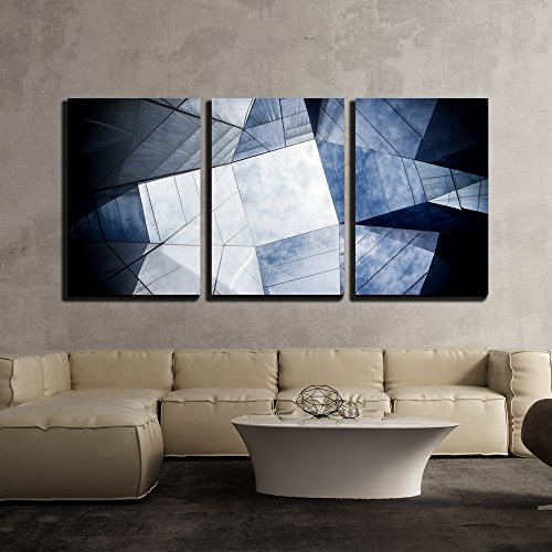 """wall26 - 3 Piece Canvas Wall Art - Reflection of Sky and Clouds on Architecture with Glass Wall - Modern Home Decor Stretched and Framed Ready to Hang - 24""""x36""""x3 Panels"""
