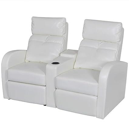 Peachy Amazon Com Recliner Chair With 2 Seat White Artificial Customarchery Wood Chair Design Ideas Customarcherynet