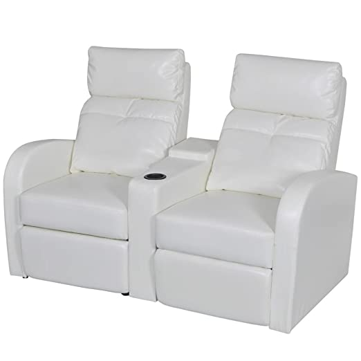 Silla reclinable de Piel sintética Blanca con 2 Asientos ...