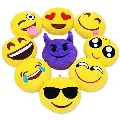 MelonBoat 4-Inch Emoji Plush Pillow (Set of 9) (Party Stuff)