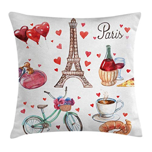 Ambesonne Paris Throw Pillow Cushion Cover, Paris Illustration of Hearts Eiffel Tower Red Wine Coffee Perfume Romance Themed, Decorative Square Accent Pillow Case, 24 X 24 Inches, Vermilion Brown (Perfume Bench Red)