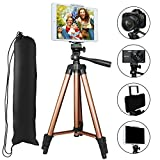 Tripod for iPad and iPhone, PEYOU 50'' Inch Portable Lightweight Aluminum Phone Camera Tablet Tripod with 2 in 1 Universal Mount Holder for Smartphone (Width 2-3.3'') and Tablet (Width 4.3-7.2'')