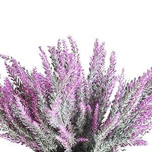 cn-Knight Artificial Flower 12pcs 15'' Faux Lavender with 5 Sub-Stems Fake Flower Lavandula for Wedding Bridal Bouquet Bridesmaid Groomsman Corsage Home Décor Office Baby Shower Centerpiece 5