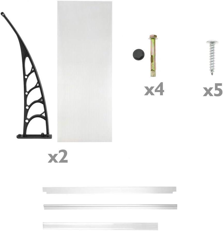 PrimeMatik - Tejadillo de protección 100x90cm Marquesina para Puertas y Ventanas Negro: Amazon.es: Electrónica